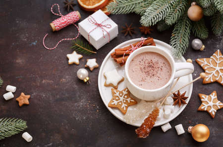 Photo for ChristmChristmas homemade gingerbread cookies and hot chocolate, top view. Christmas Holiday background.as homemade gingerbread cookies and hot chocolate, top view. Christmas Holiday background. - Royalty Free Image