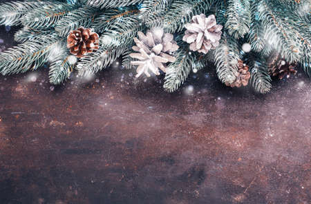 Foto per Christmas holidays background with snow. Lots of copy space - Immagine Royalty Free