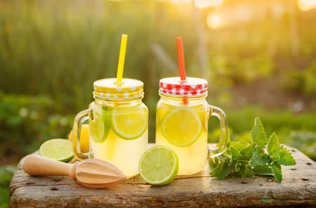 Citrus lemonade in garden setting, Refreshing summer drink with mint. Shallow depth of field