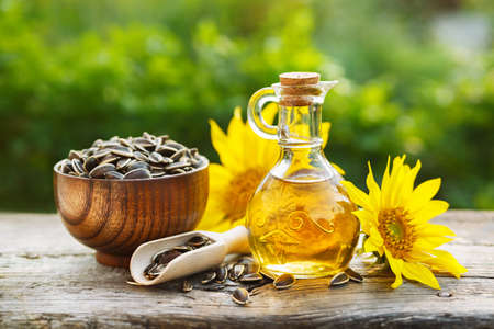 Photo pour Organic sunflower oil - image libre de droit