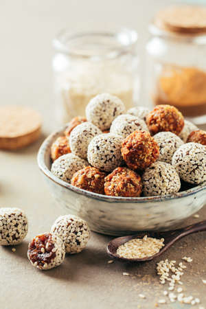 Photo for Healthy energy balls made of dried fruits and nuts. - Royalty Free Image