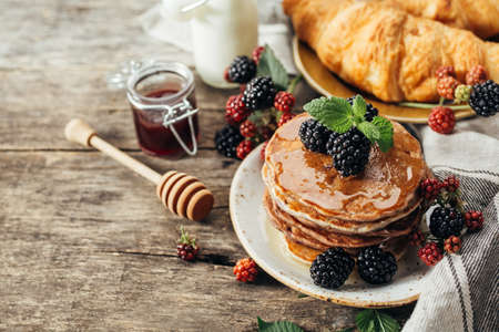 Photo for BlackBerry pancakes with fresh berries - Royalty Free Image