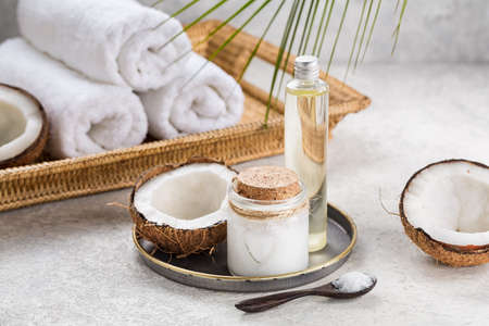 Photo for Natural coconut oil for body care. Spa composition. - Royalty Free Image