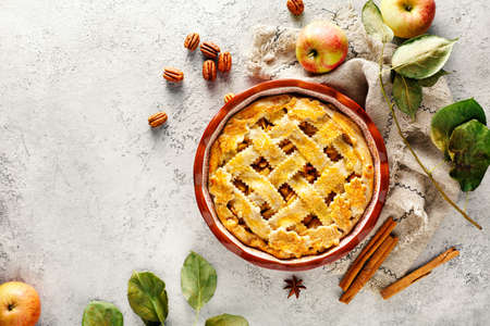 Photo for Freshly baked autumn Apple pie, Top view. Food background with copy space. - Royalty Free Image