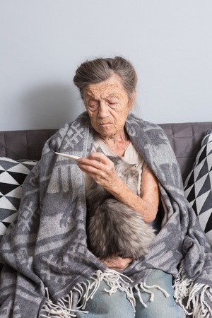 A very old senior Caucasian grandmother with gray hair and deep wrinkles is sitting at home on a sofa with a pet cat. Illness is cold and fever. Pensioner holds a thermometer in his hands.