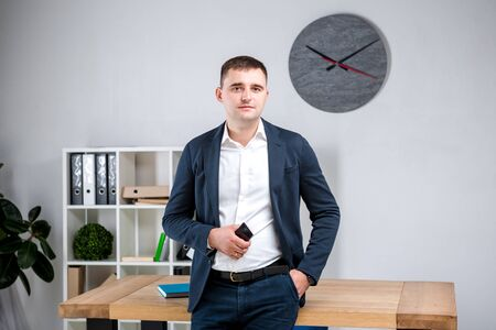 Foto de Business man in office. Handsome businessman in formal wear looking at camera in office. Overweight office worker at the workplace. Need to do your body. Plus size office worker. - Imagen libre de derechos
