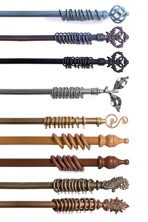 Photo pour Close Up Of Various Curtain Rods In Different Materials & Colors Isolated On White Background - image libre de droit