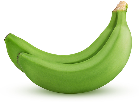 Photo for Two green banana isolated on white background Clipping Path. Full depth of field. - Royalty Free Image