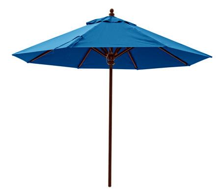Foto de Blue beach umbrella isolated on white. Clipping path included. - Imagen libre de derechos