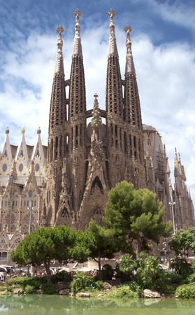 Foto de La Sagrada Familia - the impressive cathedral designed by Gaudi, which is being build since 19 March 1882 and is not finished yet. - Imagen libre de derechos