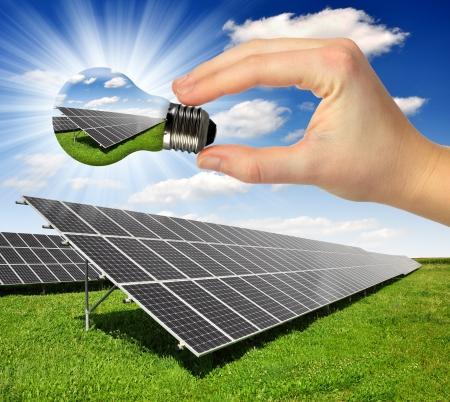 Foto de Bulb with of solar panel  - Imagen libre de derechos