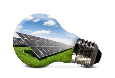 Photo pour Bulb with of solar panel  - image libre de droit