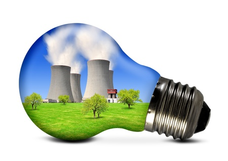 Photo pour Bulb with nuclear power plant  - image libre de droit