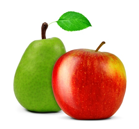 Photo pour red apple with pear isolated on white  - image libre de droit