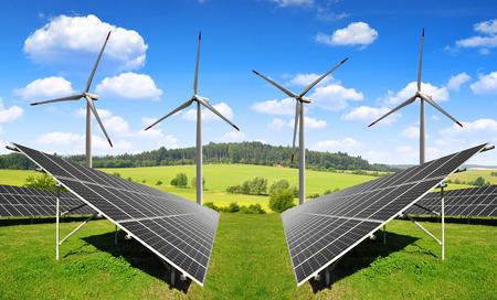 Photo pour solar energy panels and wind turbines - image libre de droit