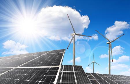Foto de solar energy panels and wind turbines - Imagen libre de derechos