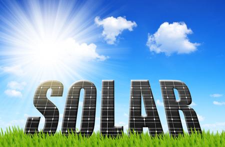 Photo pour The word Solar from solar energy panels - image libre de droit