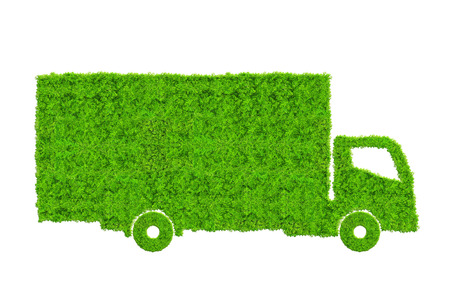 Photo for Green truck isolated on white background. Concept of ecology transport. - Royalty Free Image