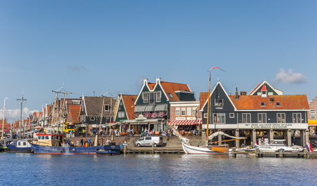 Photo for Boats at the quay of Volendam in the Netherlands - Royalty Free Image