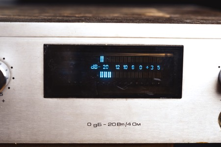 Photo for old Soviet audio amplifier, volume controls closeup - Royalty Free Image