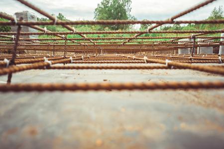Photo pour reinforcement in the Foundation prepared for pouring concrete - image libre de droit