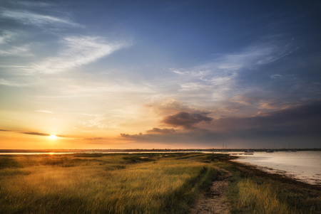 Foto de Beautful Summer sunset landscape over wetlands and harbour - Imagen libre de derechos