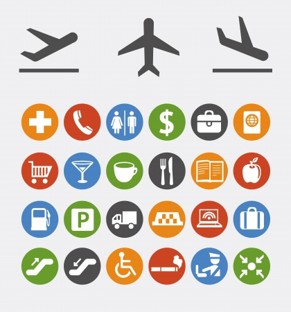collection of icons and pointers for navigation in airport