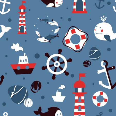 seamless pattern with sea icons - abstract background