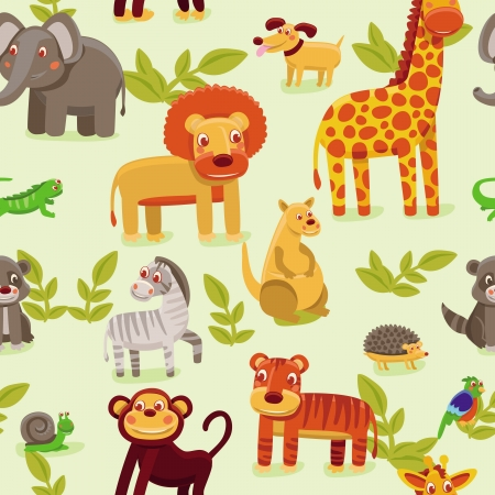 vector seamless pattern with cartoon animals - wallpaper background for kids mural