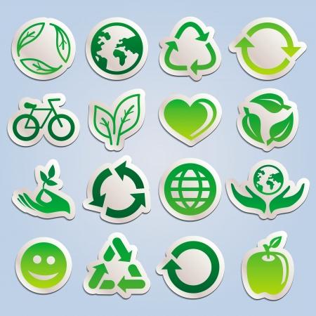 set with ecology stickers - green signs symbols and signs