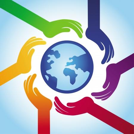 Ilustración de tolerance concept - hand icons and globe in rainbow style - Imagen libre de derechos