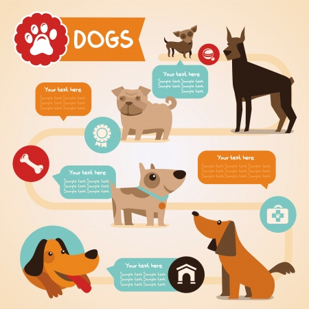 Ilustración de Vector set of infographics design elements - dogs and pets in flat style - Imagen libre de derechos