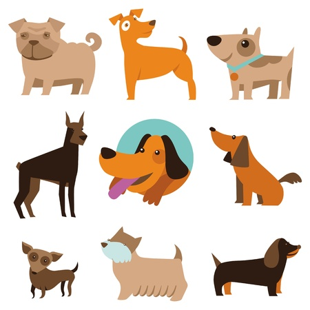 Illustration pour Vector set of funny cartoon dogs - illustration in flat style - image libre de droit
