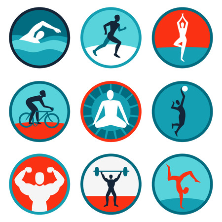 Foto de Vector fitness icons and signs - jogging, swimming - Imagen libre de derechos
