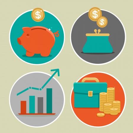Illustration pour Vector money and business icons in flat style - infographic design elements - image libre de droit