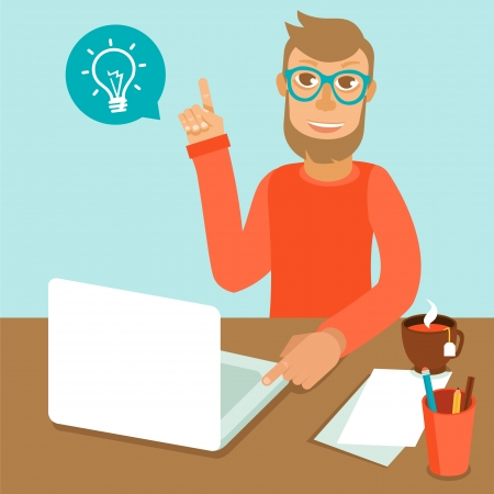 Illustration pour Vector character wearing glasses and working on his laptop in flat retro style - image libre de droit