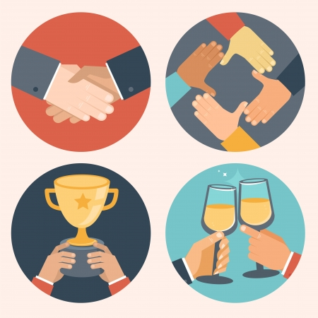 Ilustración de Vector concepts in flat style - partnership and cooperation  Business icons - handshake, cooperation, victory and celebration - Imagen libre de derechos