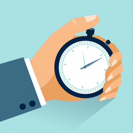 Illustration pour Time management  Vector modern illustration in flat style with male hand holding stopwatch - image libre de droit