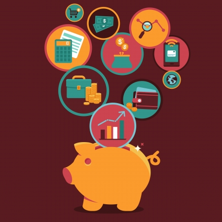 Illustration pour Vector Personal Finance Control and management - icons and sign in flat style - image libre de droit