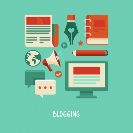 Ilustración de concept in flat style with trendy icons - blogging and writing for website - Imagen libre de derechos