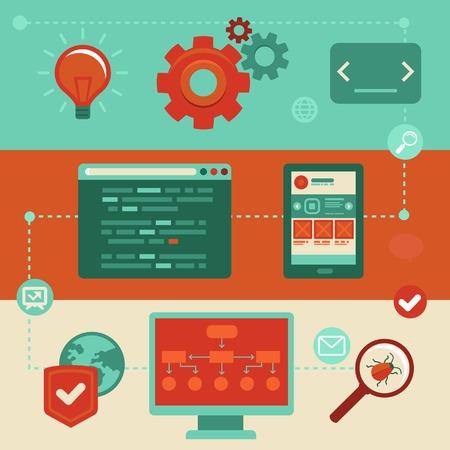 Ilustración de Vector concept in flat style with trendy icons - website development and coding. Tools and symbols - programming and prototyping - Imagen libre de derechos