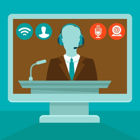 Illustration pour online conference concept in flat style - webinar and training on the web - image libre de droit