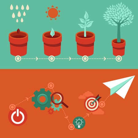 Ilustración de growth and start up concepts in flat style - signs and banner - new business - Imagen libre de derechos