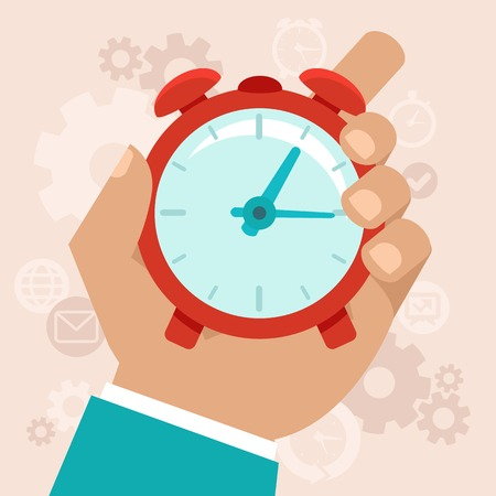 Illustration pour Time management modern illustration in flat style with male hand holding stopwatch - image libre de droit