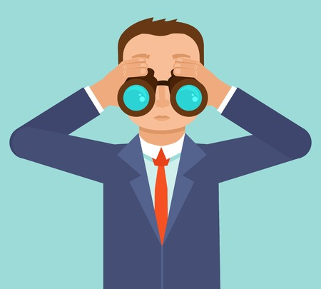 Illustration for Vector businessman looking for future trends through binoculars  - business and strategy metaphor - illustration in flat style - Royalty Free Image