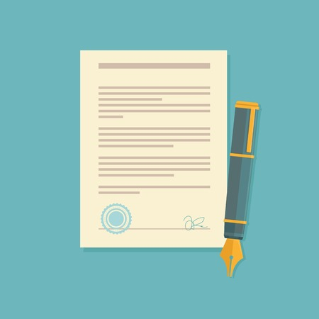 Illustration pour Vector agreement icon in flat style - contract and pen - image libre de droit