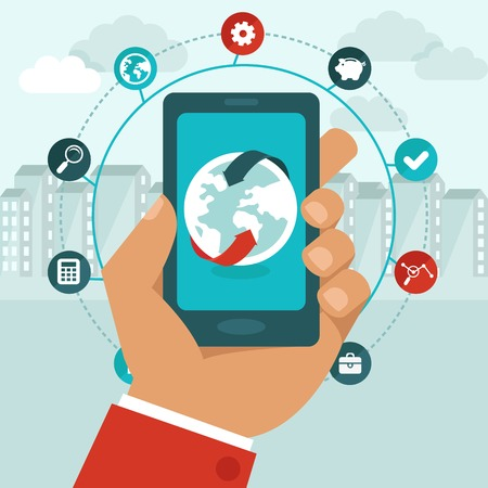 Illustration pour Vector mobile phone with icons in flat style -  global business concept - networking app - image libre de droit