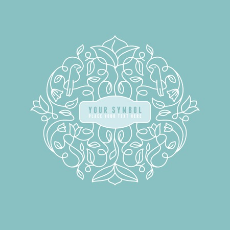 Illustration pour Vector abstract wedding monogram - outline illustration - with copy space for text - image libre de droit