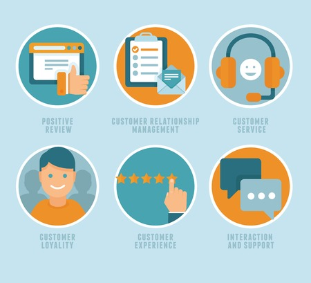Illustration pour Vector flat customer experience concepts - icons and infographic design elements - positive review, customer service and support - image libre de droit