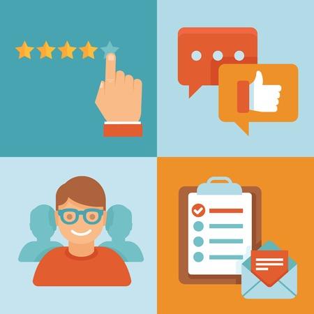 Illustration pour Vector flat customer service concept - icons and infographic design elements - client experience - image libre de droit